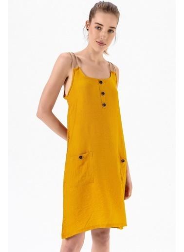 Emjey Urgan Askılı Elbise Hardal